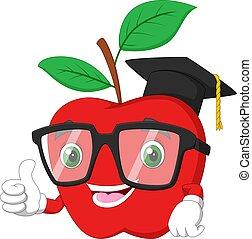 jabłko, czerwony, formułować, skala, litera