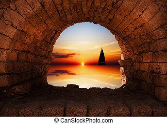 jacht, zachód słońca, nawigacja, przeciw