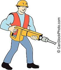 jackhammer, budowlaniec, rysunek, dzierżawa