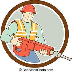jackhammer, koło, budowlaniec, rysunek