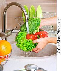 jadło, świeża zielenina, washing., zdrowy