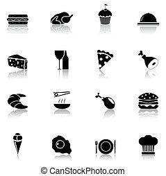 jadło, czarnoskóry, 1, komplet, ikona, część