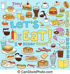 jadło, diner, komplet, doodles, notatnik