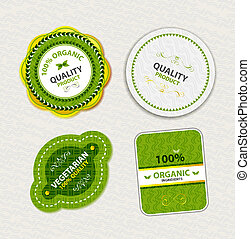 jadło, etykiety, komplet, organiczny, symbole