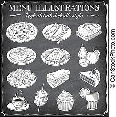 jadło, ilustracje, wektor, chalkboard