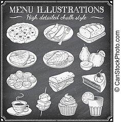 jadło, ilustracje, wektor, grunge, chalkboard