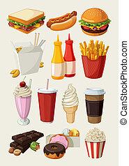 jadło, komplet, mocny, barwny, rysunek
