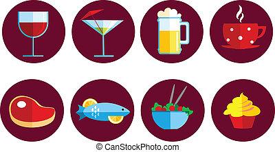 jadło, komplet, napój, ikony
