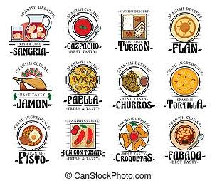 jadło, kuchnia, półmiski, bar, hiszpański, menu, tradycyjny