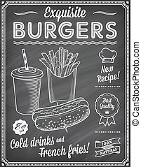 jadło, menu, chalkboard, mocny, template2