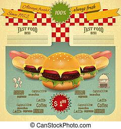 jadło, menu, retro, mocny