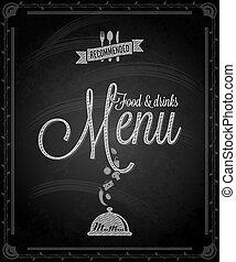 jadło, -, menu, ułożyć, chalkboard