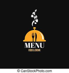jadło, półmiski, menu, projektować, napój