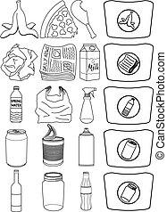 jadło, papier, puszki, butelka, przerabianie surowców wtórnych, kreska