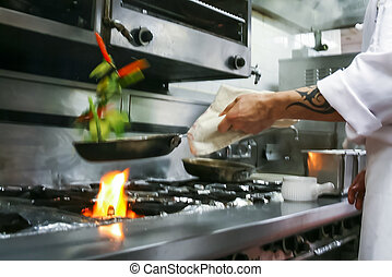 jadło, przygotowując, restauracja