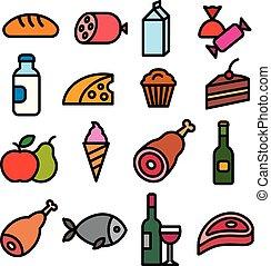 jadło, sklep spożywczy, ikony