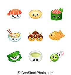 jadło, sprytny, japończyk, ikony