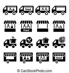 jadło, wózek, stać, ikony