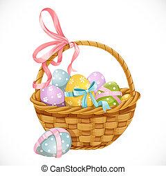 jaja, odizolowany, tło, kosz, biały, wielkanoc