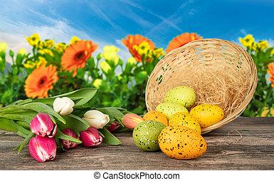 jaja, tulipany, wielkanoc, stół, kwiat, tło, kosz