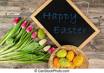 jaja, tulipany, wielkanoc, tablica, stół, kosz