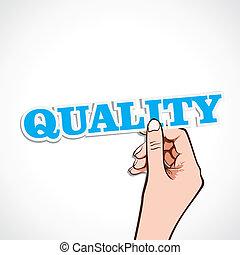 jakość, słowo, ręka