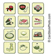 japończyk, bambus, sushi-bar, |, ikony