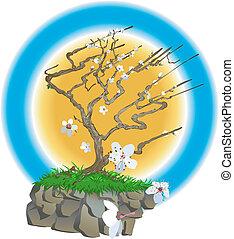 japończyk, ilustracja, drzewo