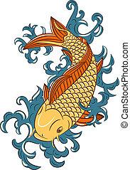 japończyk, koi, (carp, styl, fish)