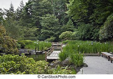 japończyk, most, zig, ogród, zag