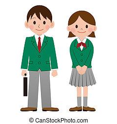 japonia, student, szkoła, wysoki