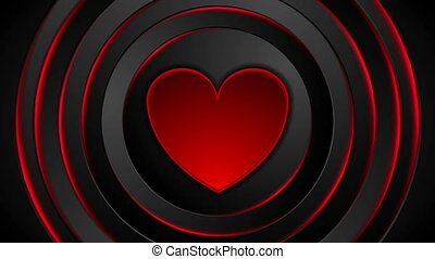 jarzący się, serce, video, ożywienie, koła, bębnić, czerwony