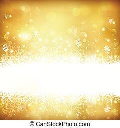 jarzący się, tło, światła, boże narodzenie, złoty, gwiazdy, płatki śniegu