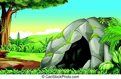 jaskinia, las, scena