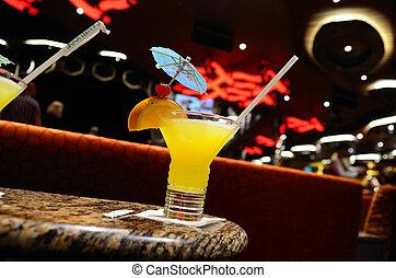 jasny, żółty, cocktail