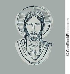 jasny, jezus, d, twarz