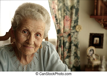 jasny, kobieta, oczy, starszy