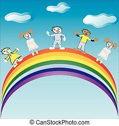 jazda, wektor, rainbow., illustration., dzieci