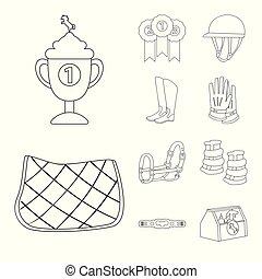 jeździec, koń, symbol., wektor, zbiór, projektować, pień, grzbiet koński, illustration.
