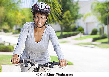 jeżdżenie, amerykańska kobieta, rower, afrykanin