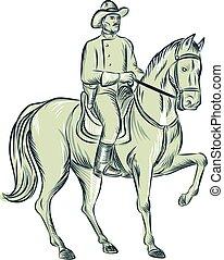 jeżdżenie, kawaleria, akwaforta, koń, oficer