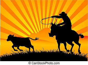 jeżdżenie, kowboj