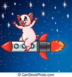 jeżdżenie, przelotny, rysunek, rakieta, świnia