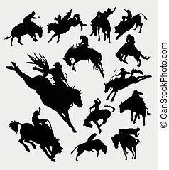 jeżdżenie, rodeo, silhouet, kowboj, zwierzę