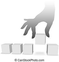 jeden, wybór, zrywa, copyspaces, piątka, ręka