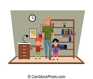 jednorazowy, dzieciaki, ojciec, rodzina