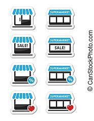 jednorazowy, sklep, supermarket, ikony
