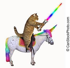 jednorożec, zmarszczenie, kot, miecz, jarzący się