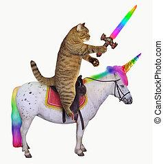 jednorożec, zmarszczenie, miecz, kot
