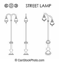 jedyny, lampa, szkic, ulica